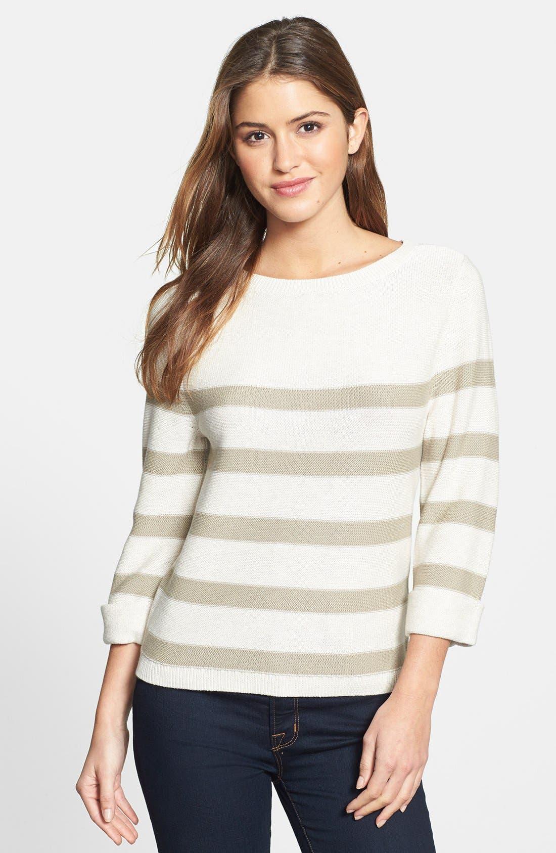 Three Quarter Sleeve Stripe Cotton Sweater,                         Main,                         color, Oatmeal/ Morel Stripe