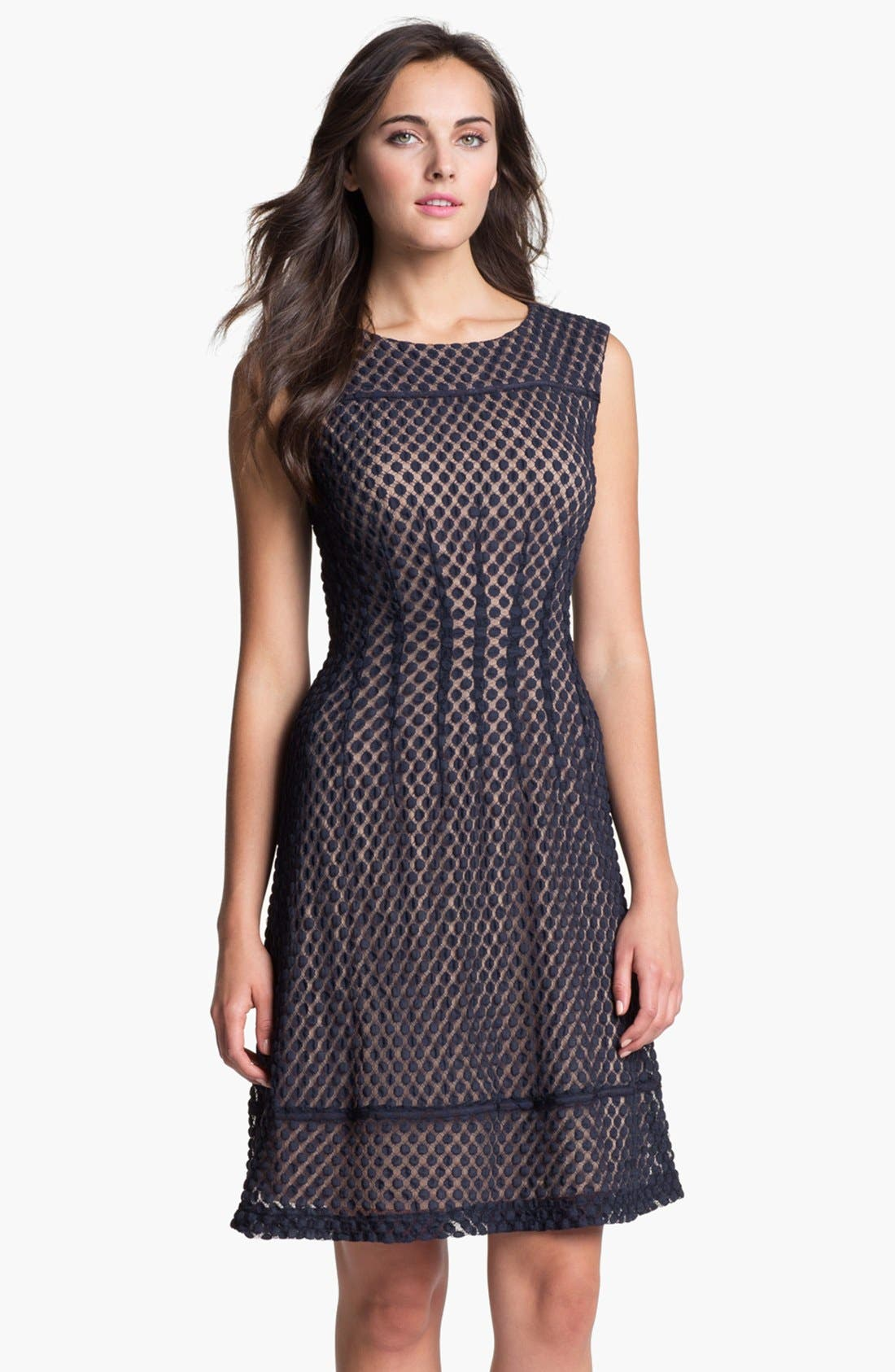 Main Image - Adrianna Papell Sleeveless Dot Lace Shift Dress (Regular & Petite)