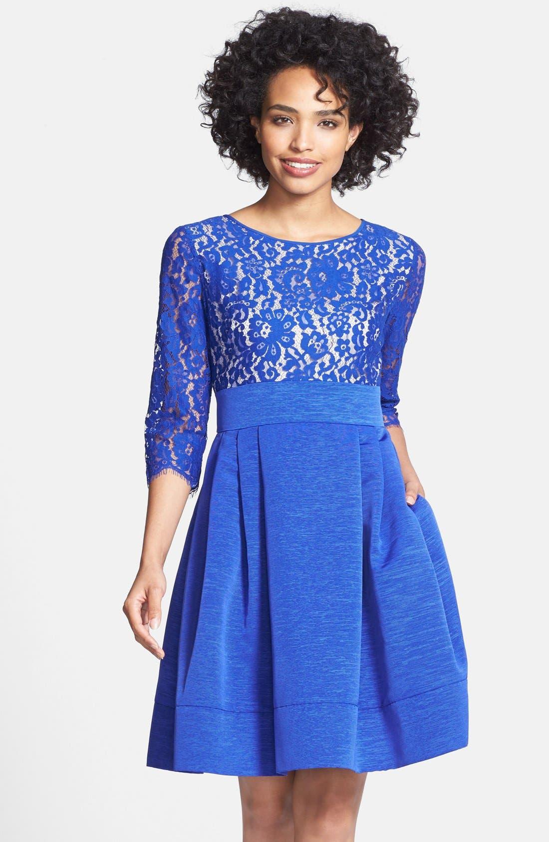 Main Image - Eliza J Lace & Faille Dress