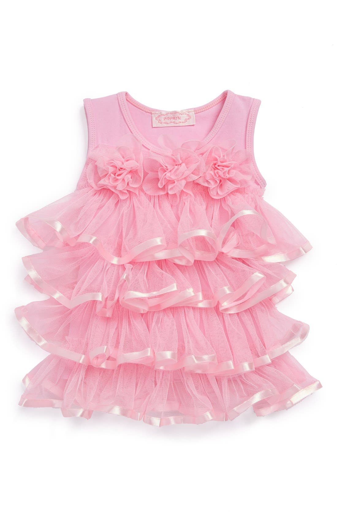 Ruffle Tiered Dress,                         Main,                         color, Pink