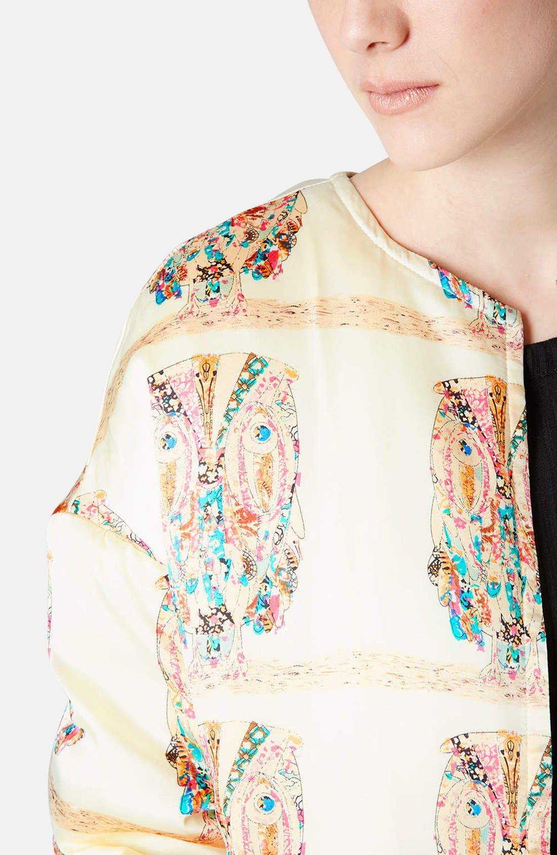 Alternate Image 4  - Topshop Owl Pattern Satin Jacket