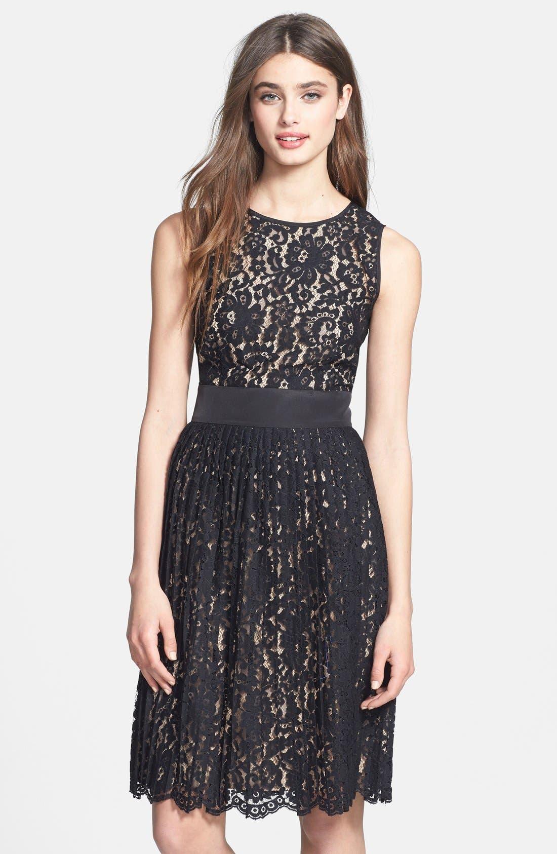 Alternate Image 1 Selected - Eliza J Sleeveless Lace Fit & Flare Dress