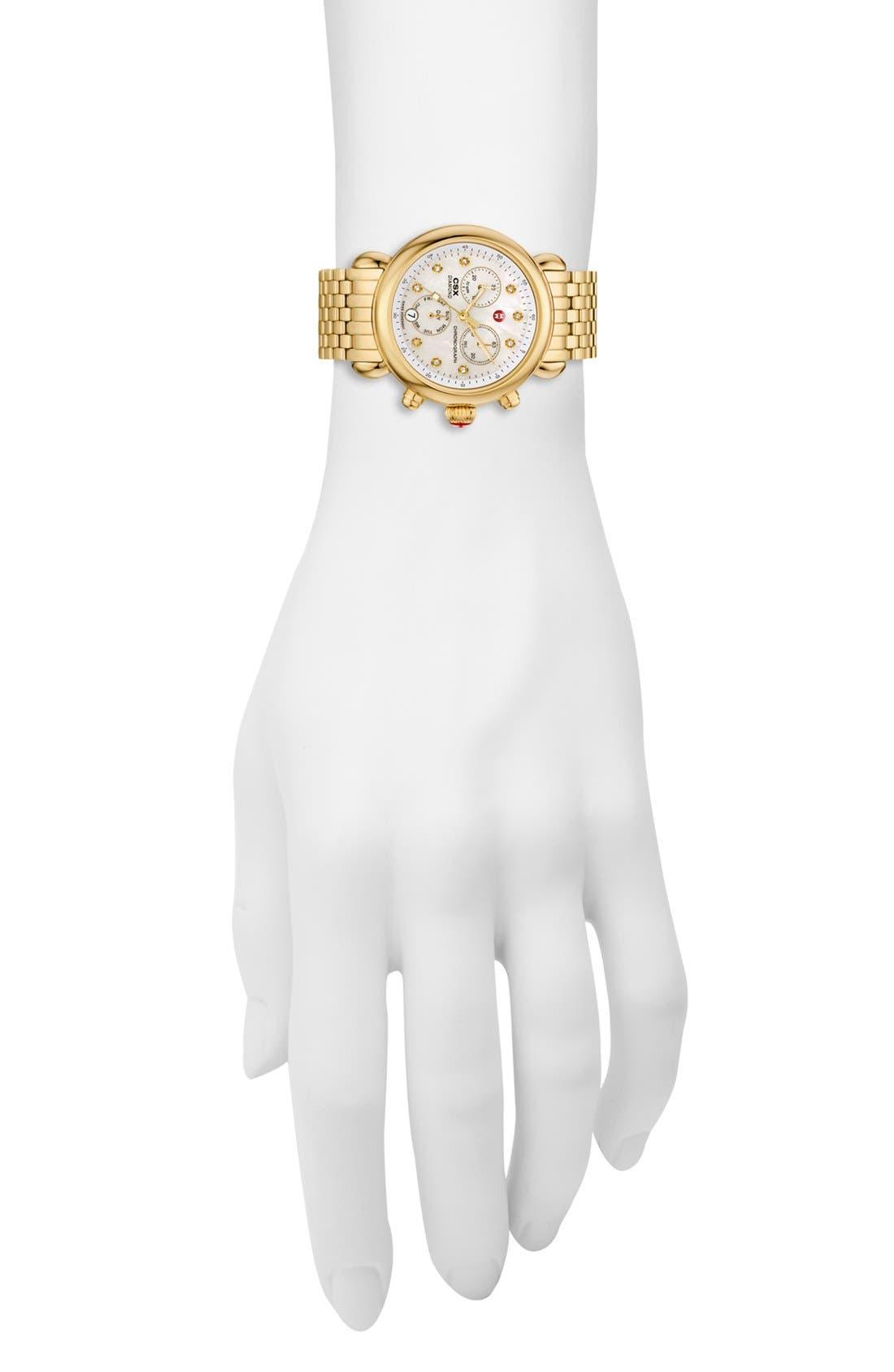Alternate Image 2  - MICHELE 'CSX-36' Diamond Dial Gold Plated Watch Case, 36mm