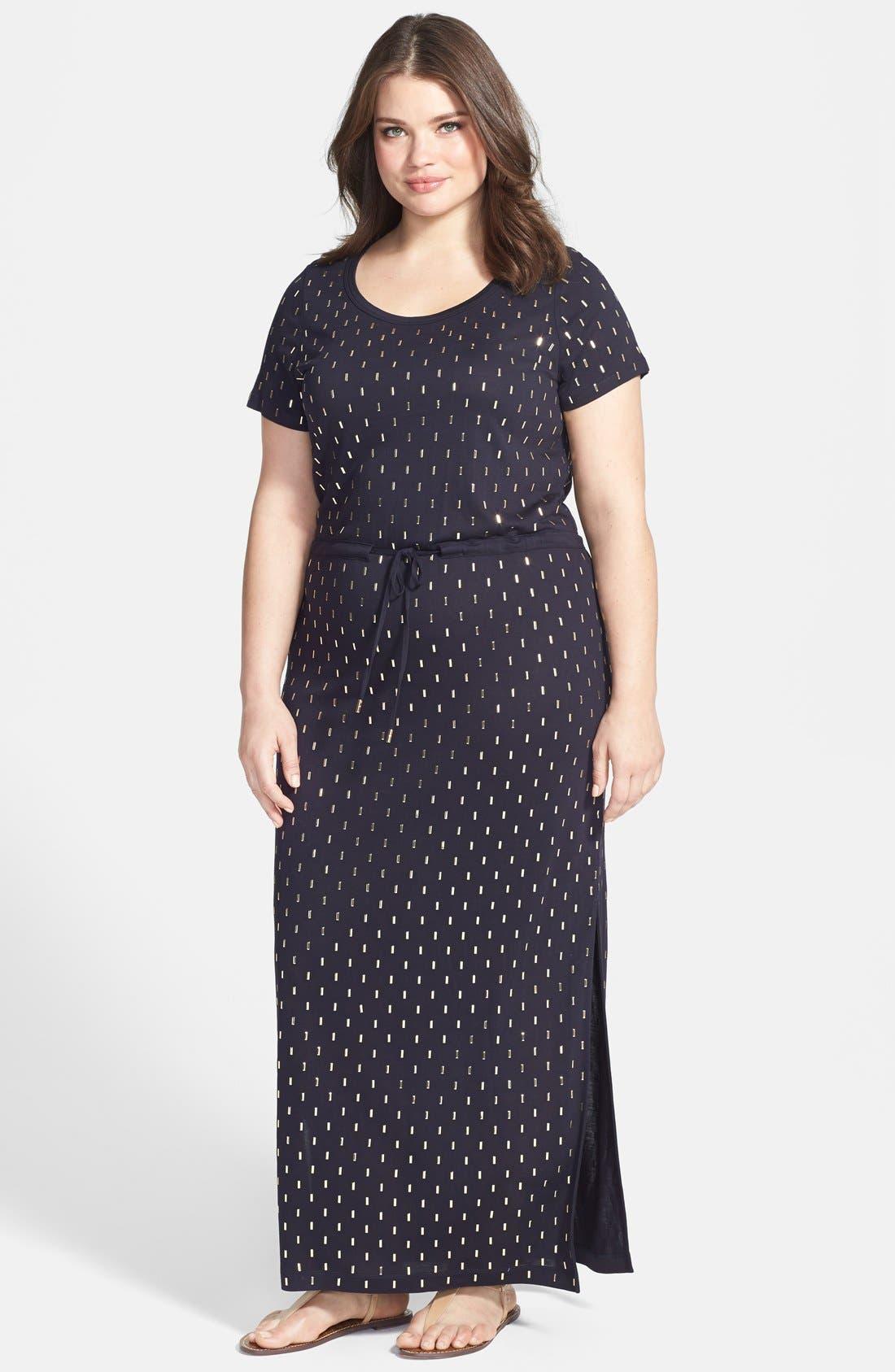 Main Image - MICHAEL Michael Kors Studded Drawstring Waist Maxi Dress (Plus Size)