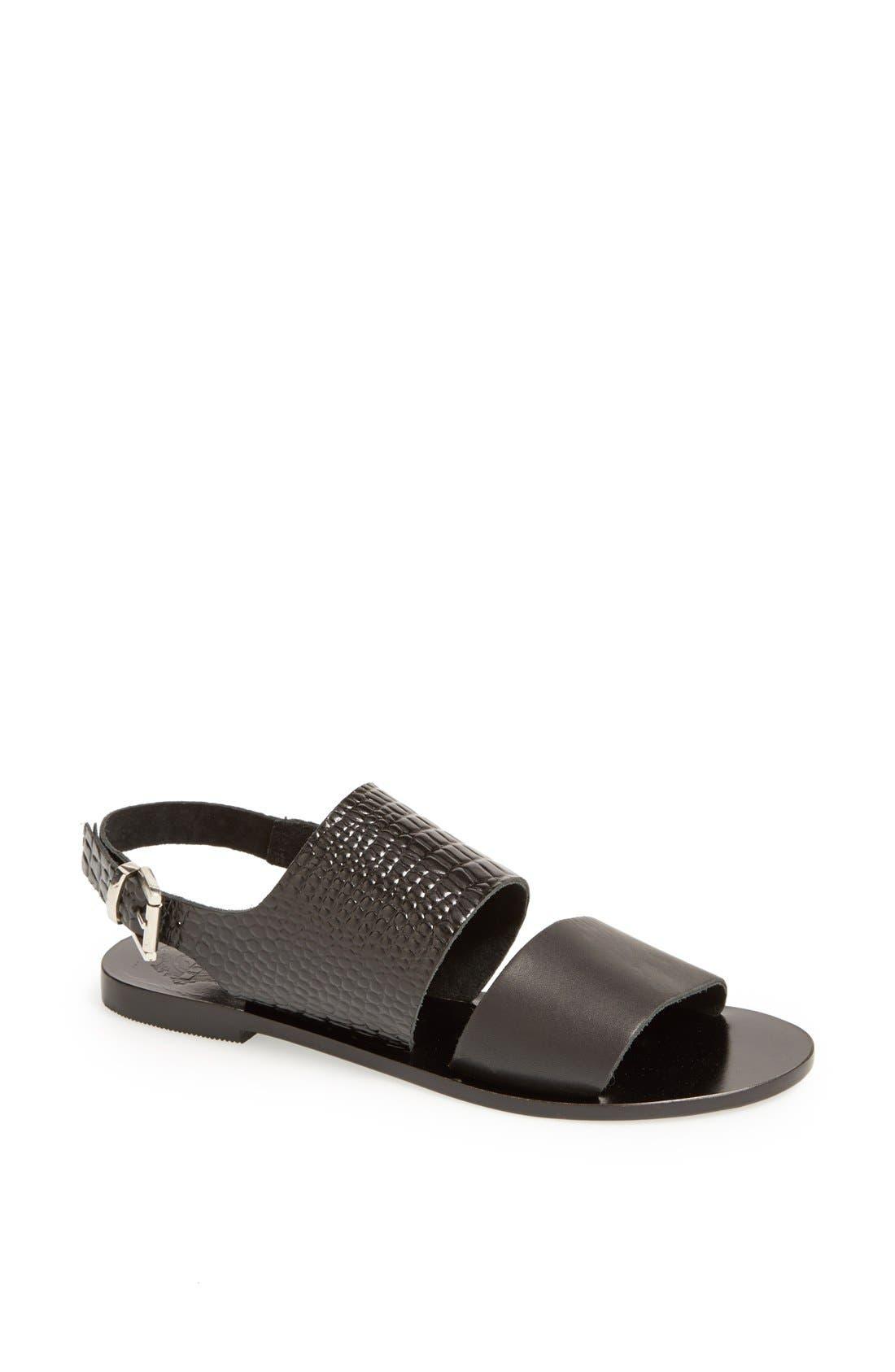 'Camilla' Sandal,                         Main,                         color, Black Patent/ Black