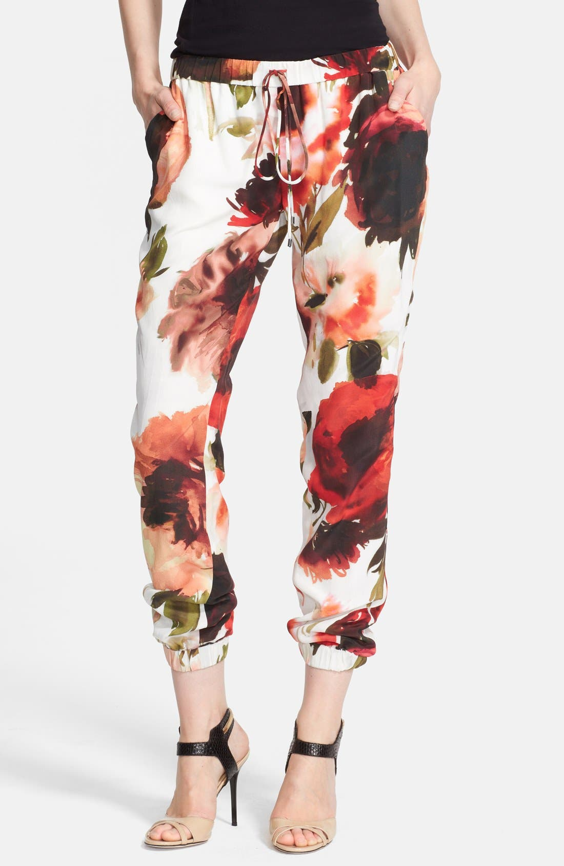 Print Silk Pants,                             Main thumbnail 1, color,                             Vintage Rose Multi