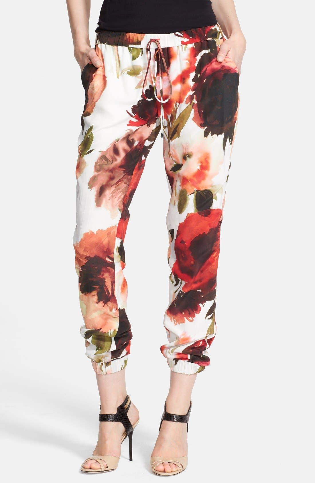 Print Silk Pants,                         Main,                         color, Vintage Rose Multi