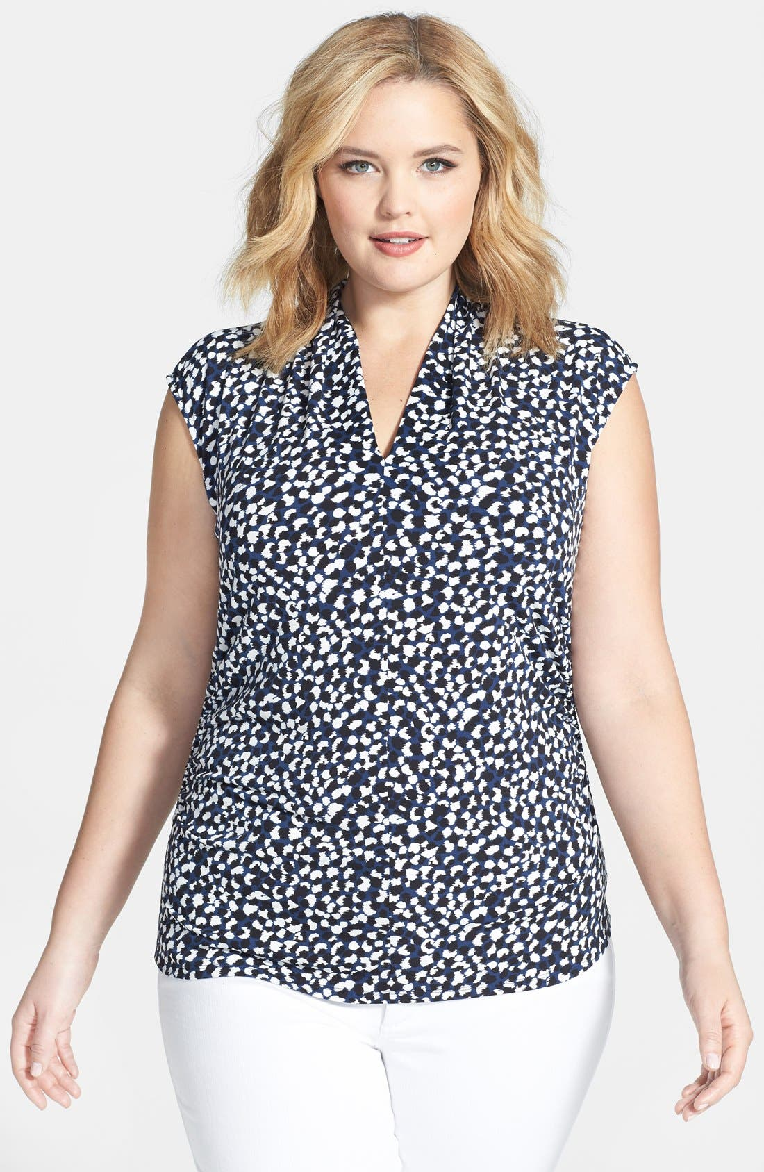 Main Image - Vince Camuto 'Doodle Dabs' Print Pleat Front V-Neck Top (Plus Size)