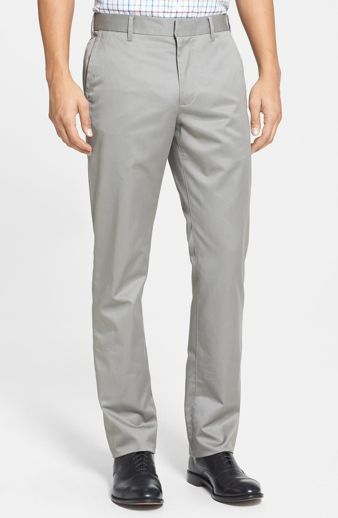 'Weekday Warriors' Non-Iron Slim Fit Cotton Chinos,                         Main,                         color, Friday Light Greys