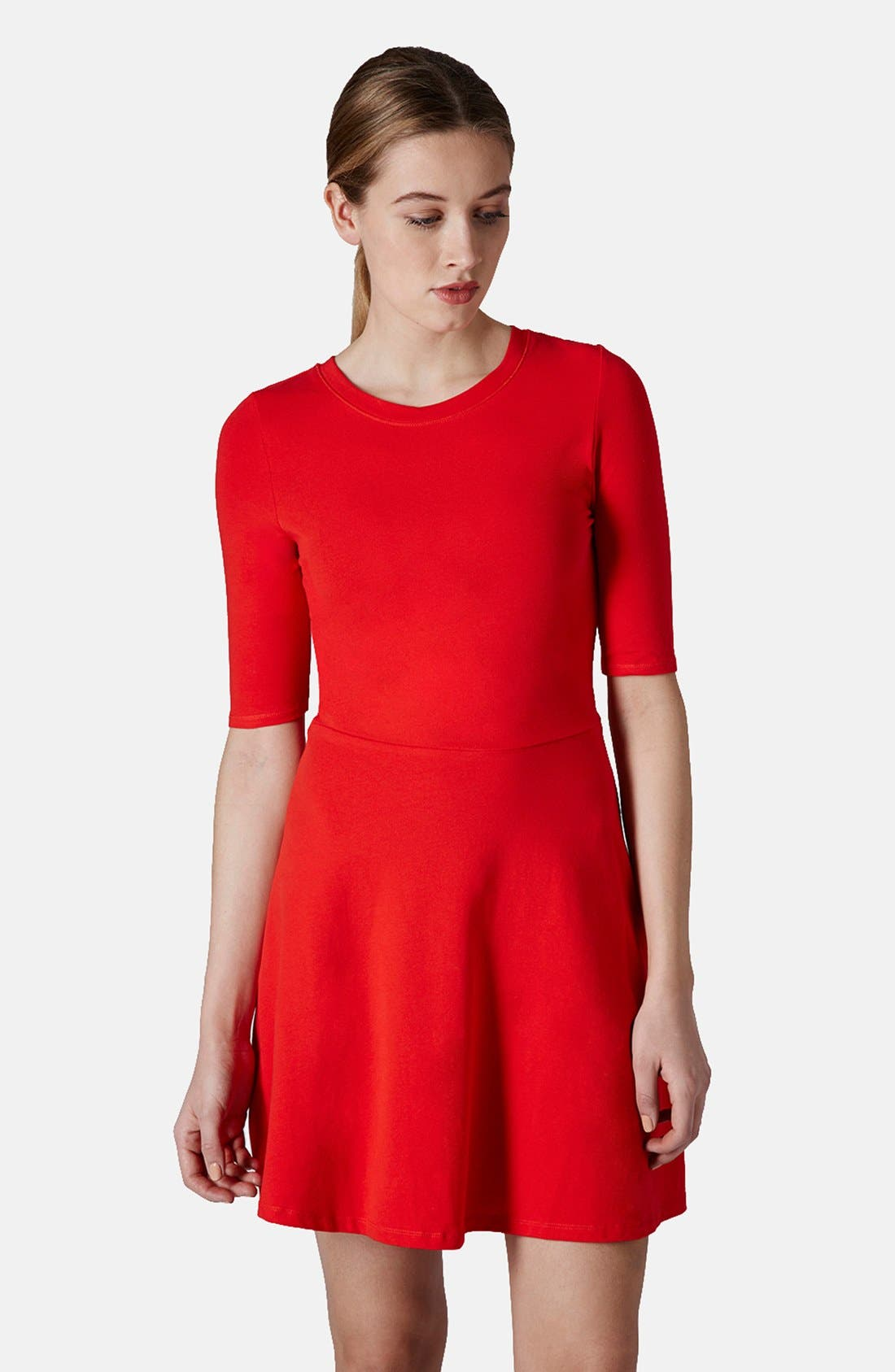 Main Image - Topshop Elbow Sleeve Jersey Fit & Flare Dress