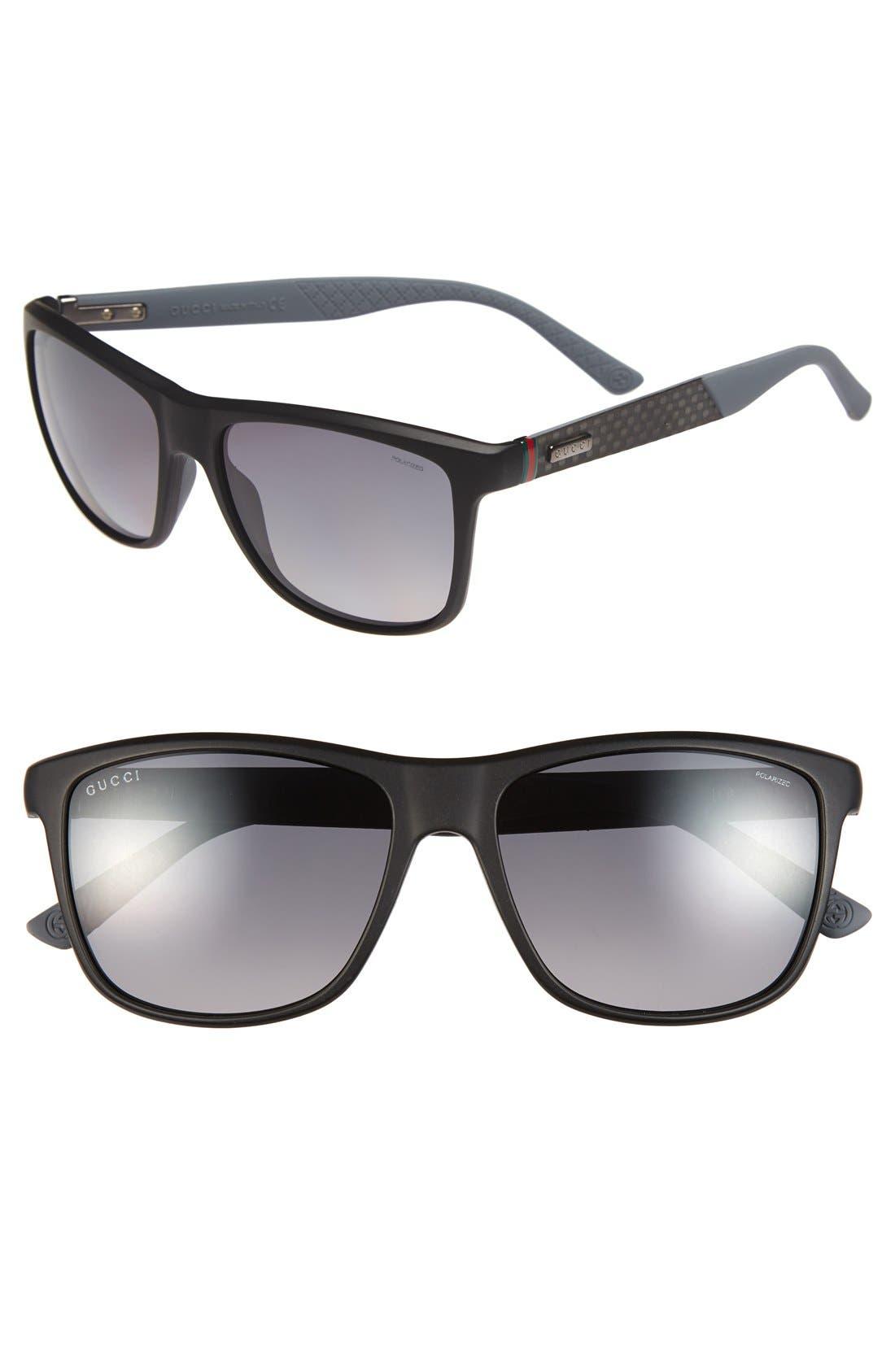 Main Image - Gucci 56mm Polarized Retro Sunglasses