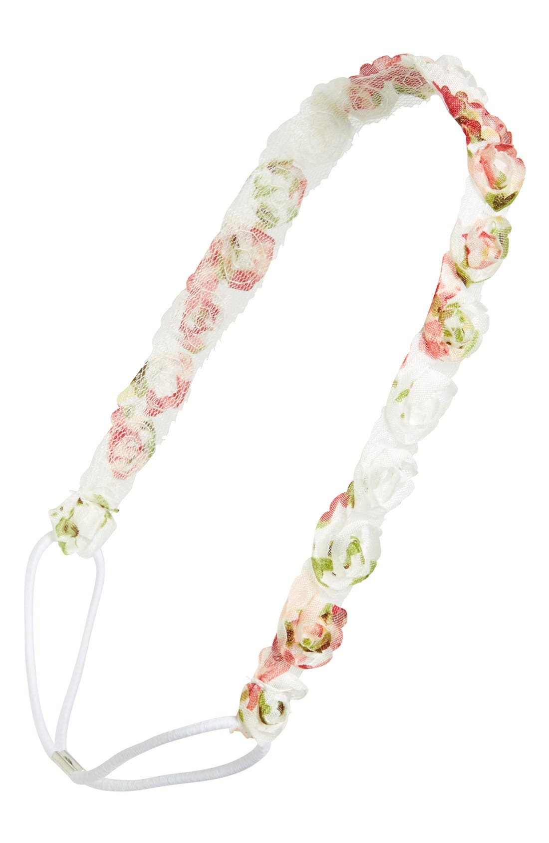 Main Image - Capelli of New York Chiffon Floral Trim Head Wrap (Girls)
