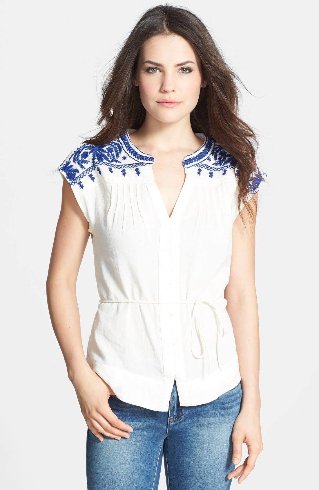 Main Image - Lucky Brand 'Sori' Embroidered Cotton Top