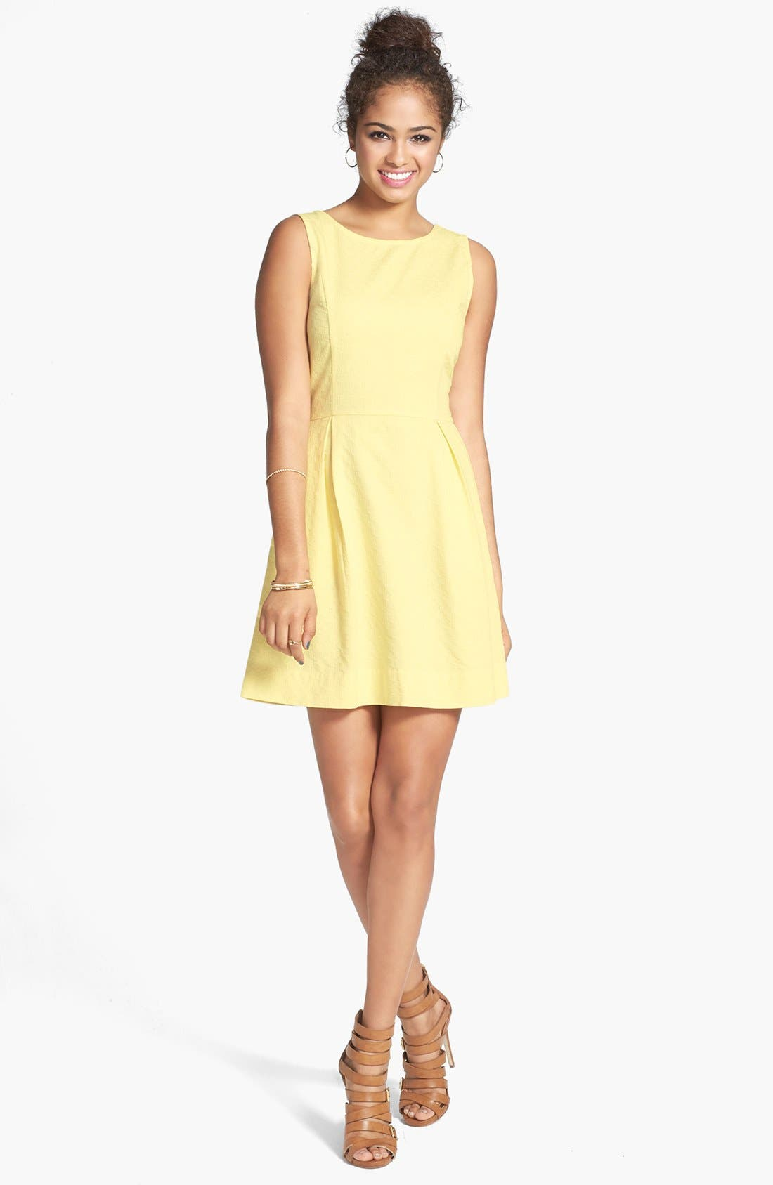 Alternate Image 1 Selected - Frenchi® Textured Cotton Fit & Flare Dress (Juniors)