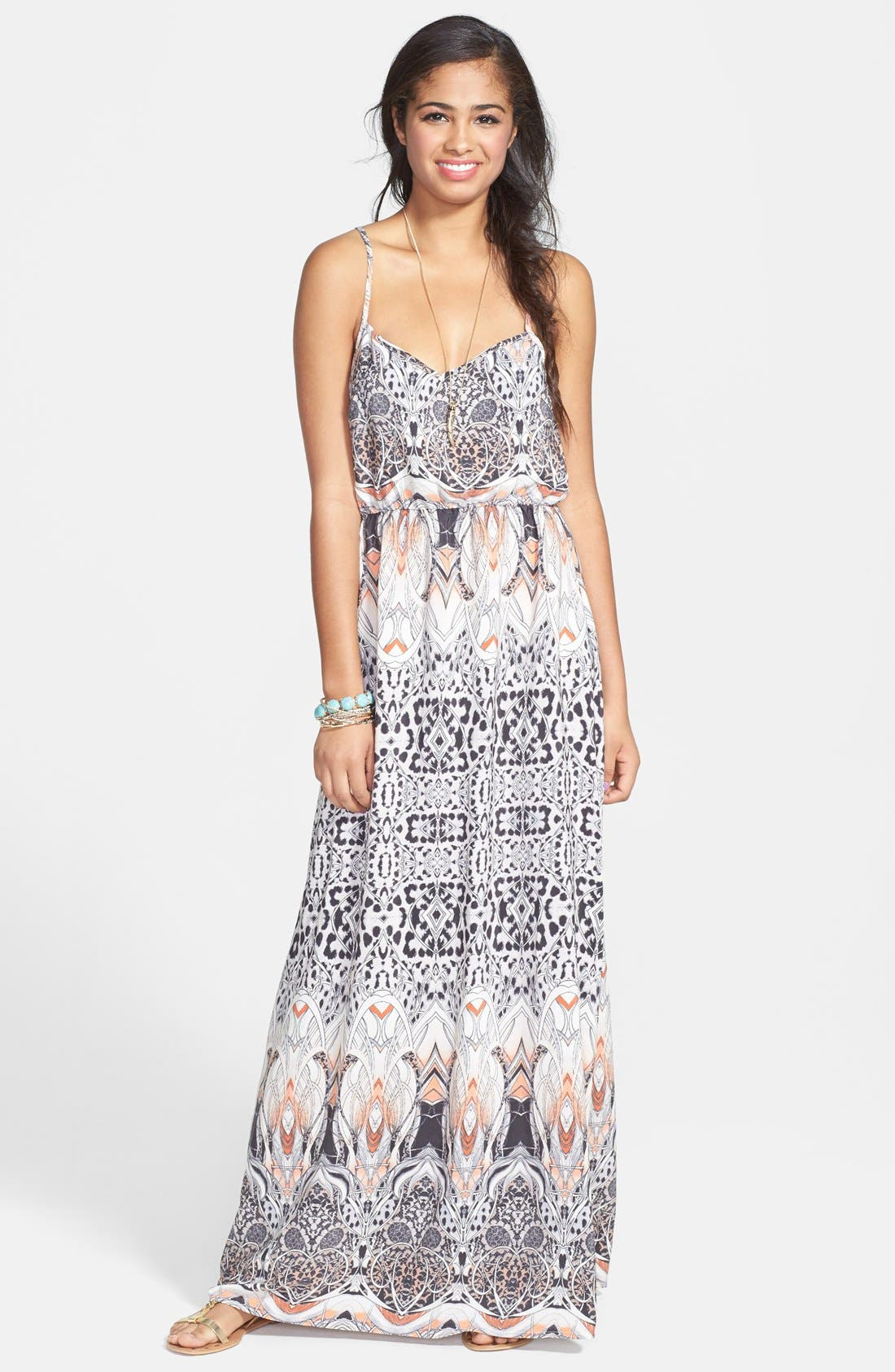 Main Image - En Crème Print X-Back Maxi Dress (Juniors)
