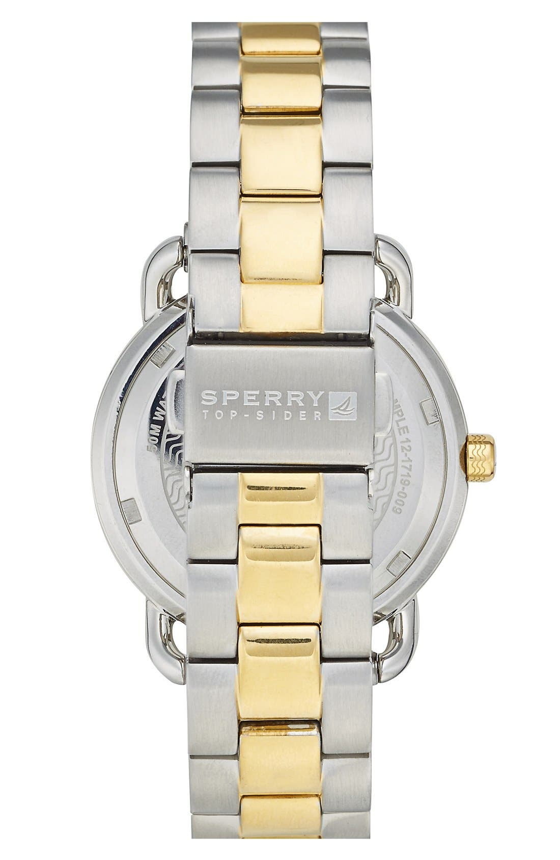 Alternate Image 2  - Sperry Top-Sider® 'Hayden' Crystal Accent Two-Tone Bracelet Watch, 36mm
