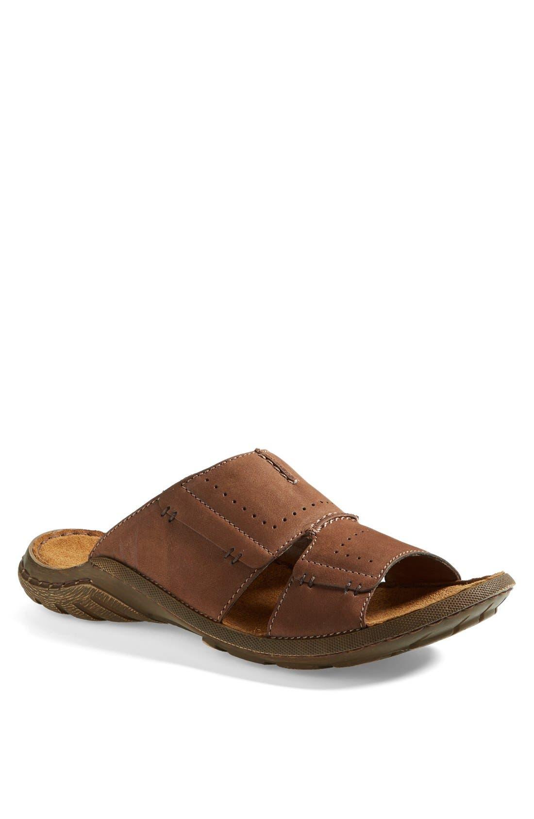 'Logan 21' Slide Sandal,                             Main thumbnail 1, color,                             Nut