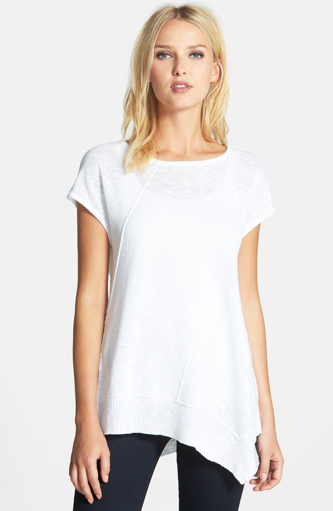 Eileen Fisher Cap Sleeve Organic Linen & Cotton Scoop Neck Top (Regular & Petite)