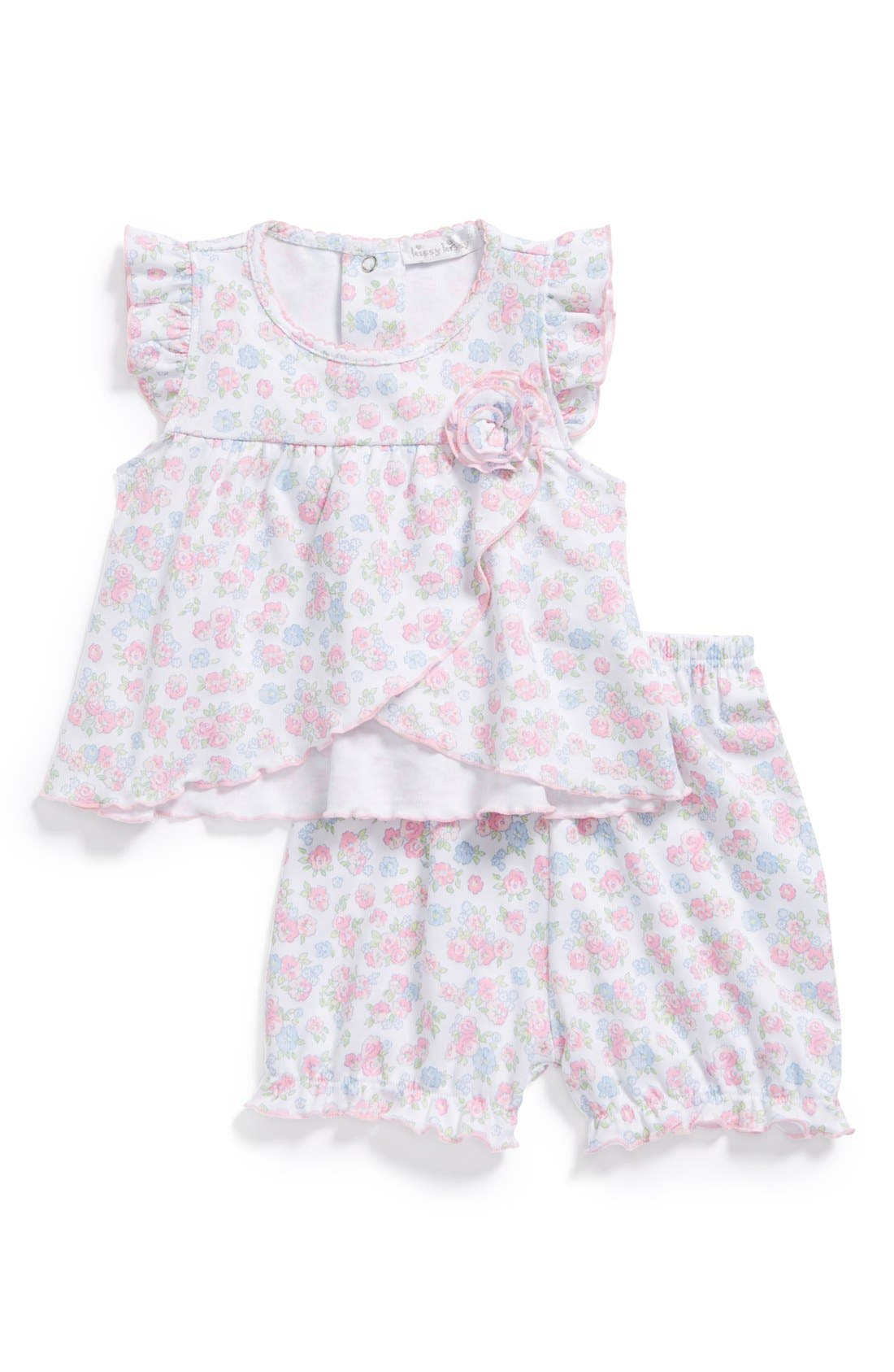 Alternate Image 1 Selected - Kissy Kissy 'Summer Splendor' Pima Cotton Tunic & Shorts (Baby Girls)
