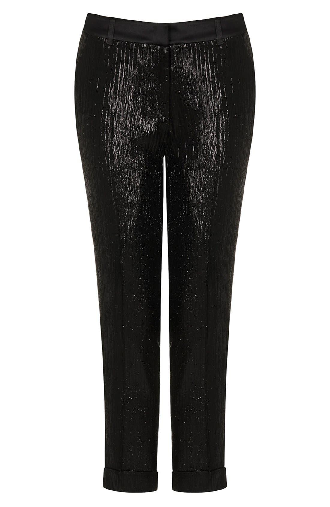 Alternate Image 3  - Kate Moss for Topshop Lamé Tuxedo Pants