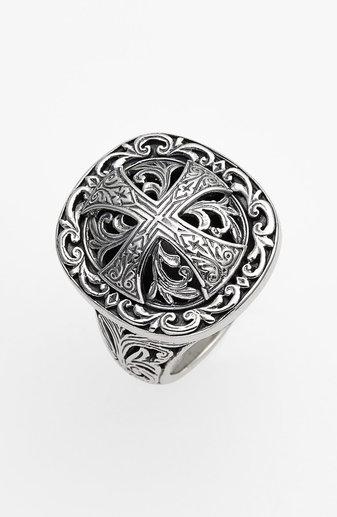 'Classics' Cross Dome Ring,                         Main,                         color, Silver