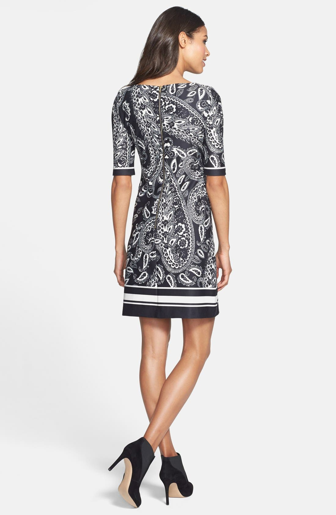 Alternate Image 2  - Eliza J Print Ponte Knit Shift Dress (Online Only)