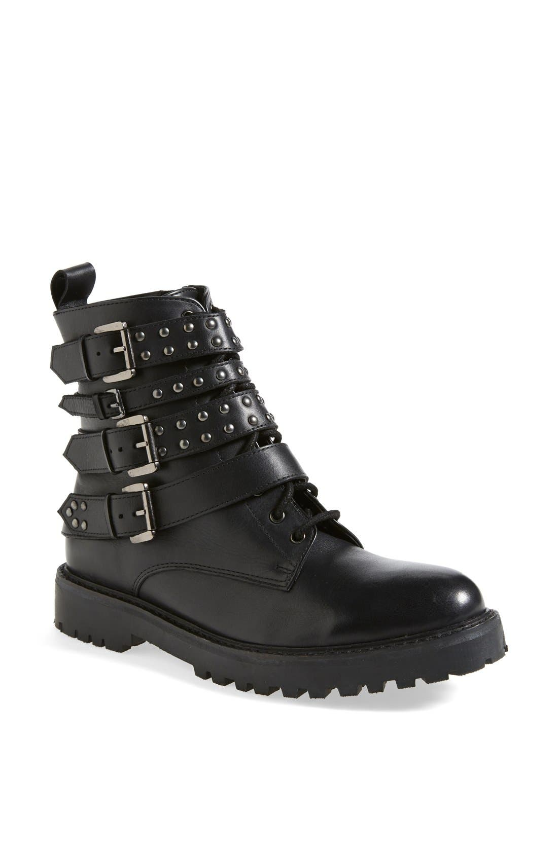 Alternate Image 1 Selected - Topshop 'Apply' Lace-Up Biker Boot (Women)