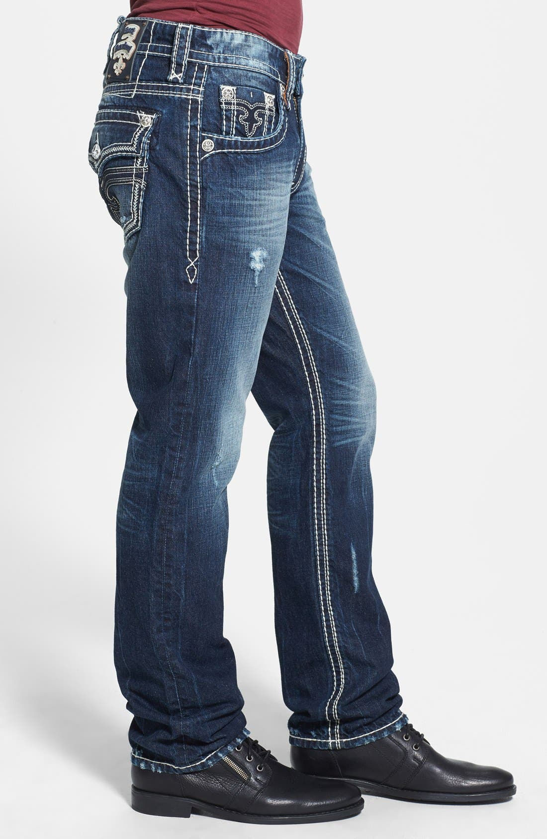 Alternate Image 3  - Rock Revival 'Saul' Straight Leg Jeans (Dark Blue)