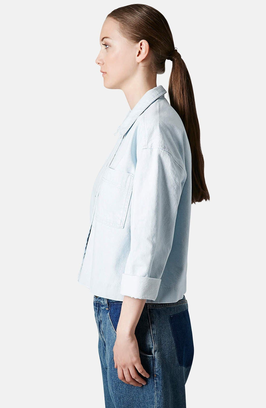 Alternate Image 4  - Topshop Boutique Crop Denim Shirt