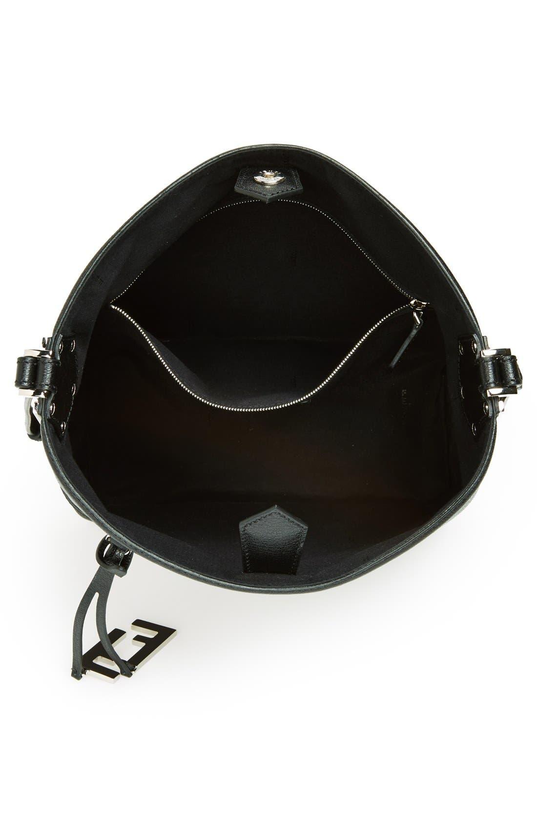 Leather Bucket Crossbody Bag,                             Alternate thumbnail 4, color,                             Black/ Palladium