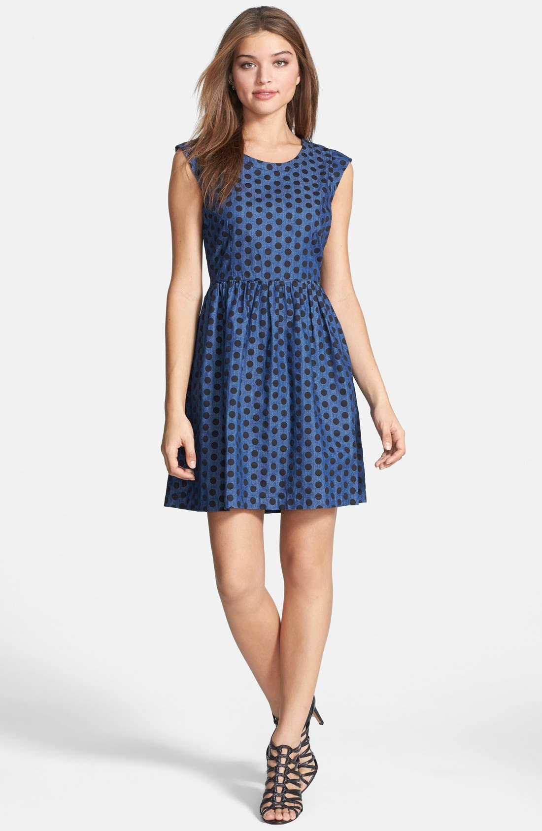 Main Image - Dex Denim Dot Fit & Flare Dress