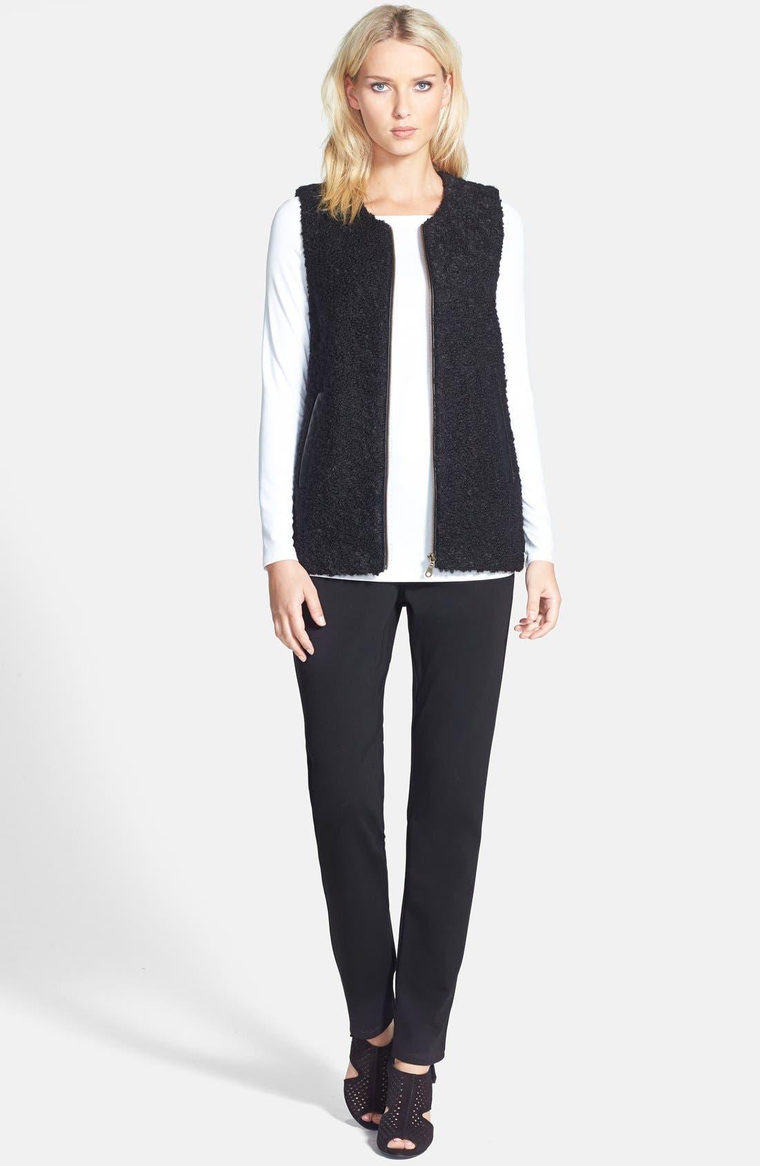 Leather Trim Alpaca Blend Vest,                             Alternate thumbnail 4, color,                             Black