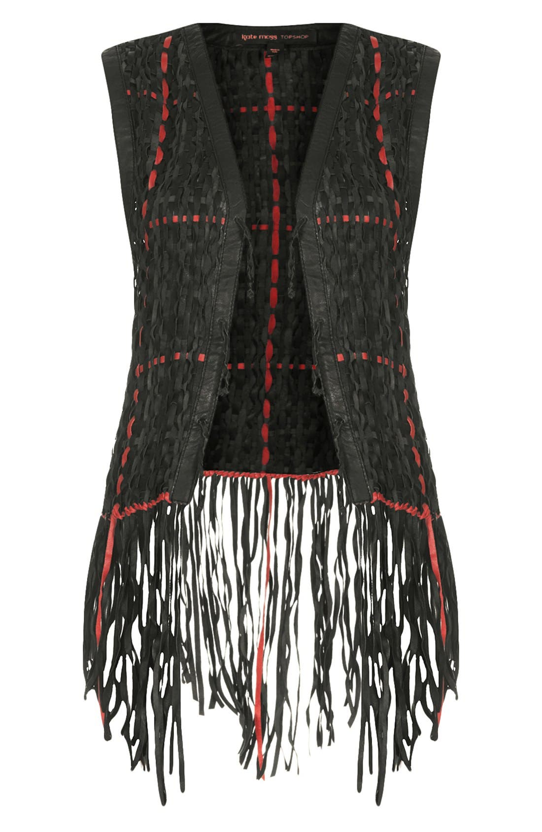 Alternate Image 3  - Kate Moss for Topshop Woven Leather Vest (Nordstrom Exclusive)