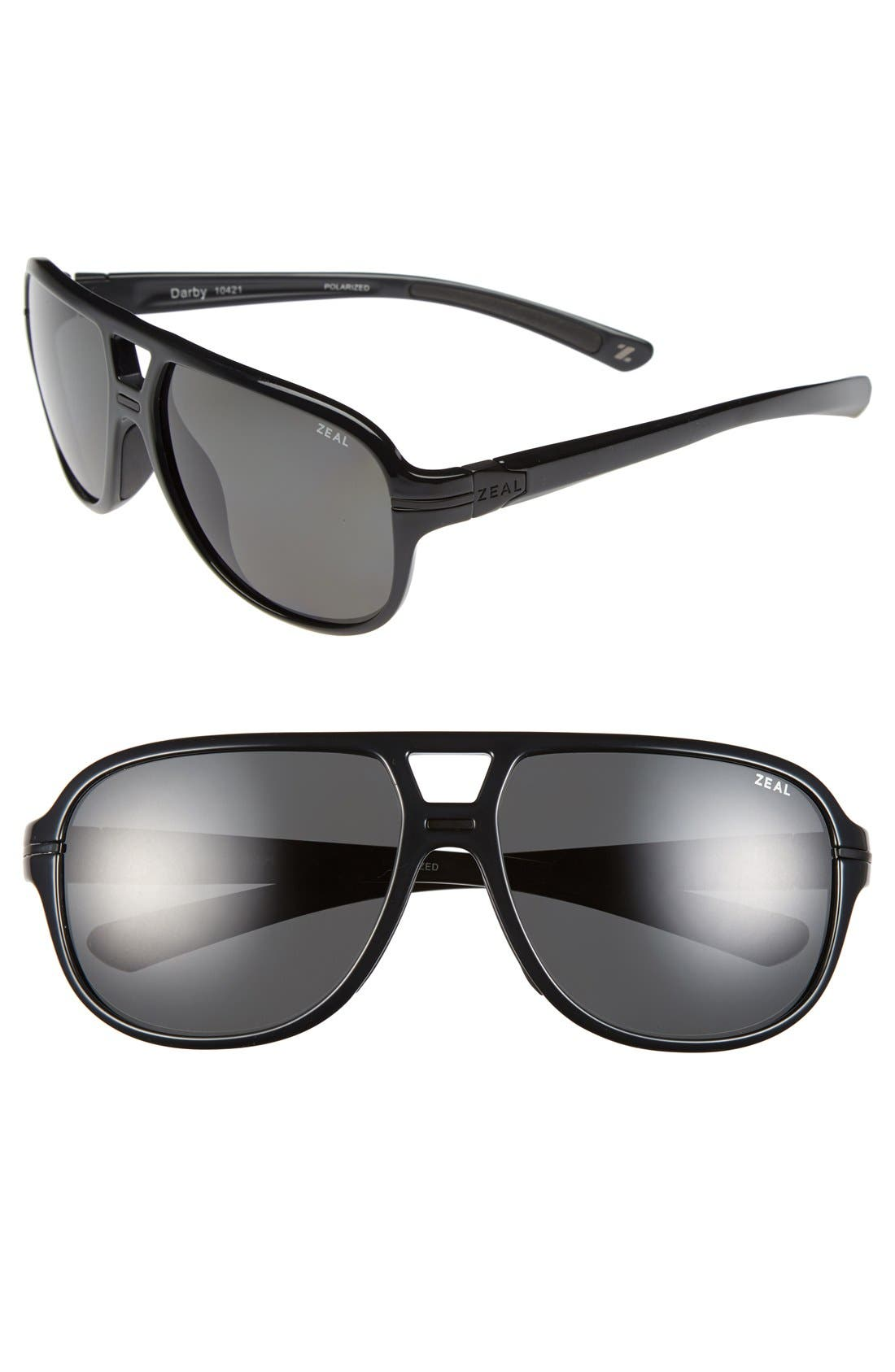 Main Image - Zeal Optics 'Darby' 60mm Polarized Plant Based Aviator Sunglasses