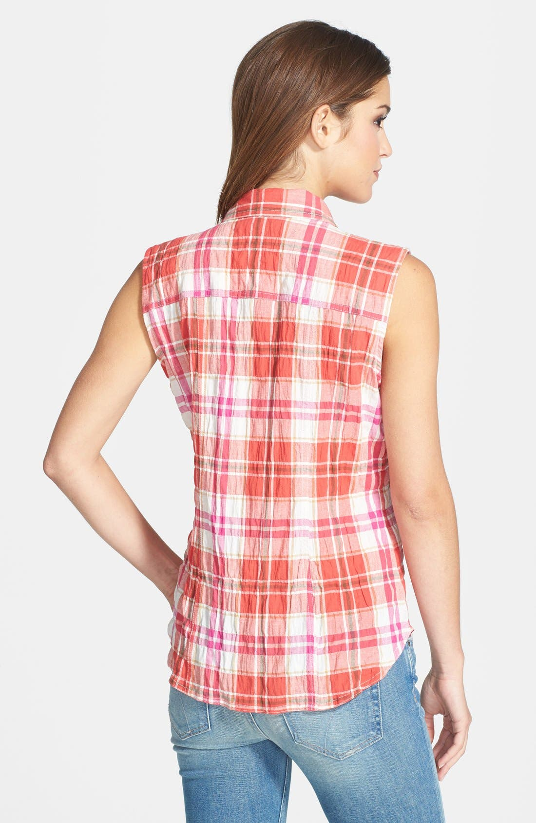 Alternate Image 2  - Sandra Ingrish Sleeveless Plaid Crinkle Cotton Shirt (Regular & Petite)