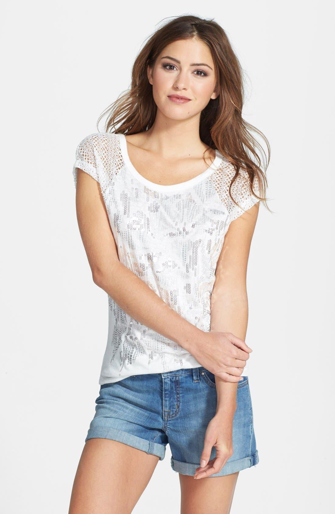 Alternate Image 1 Selected - Miss Me Crochet Sleeve Sequin Top