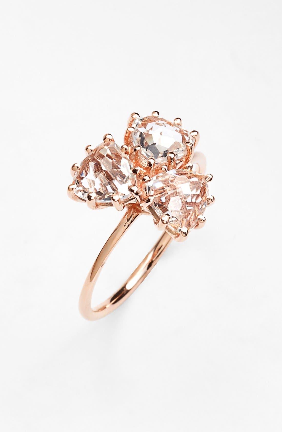 KALAN by Suzanne Kalan Triple Trillion Stone Ring,                             Main thumbnail 1, color,                             Rose Gold/ White Topaz