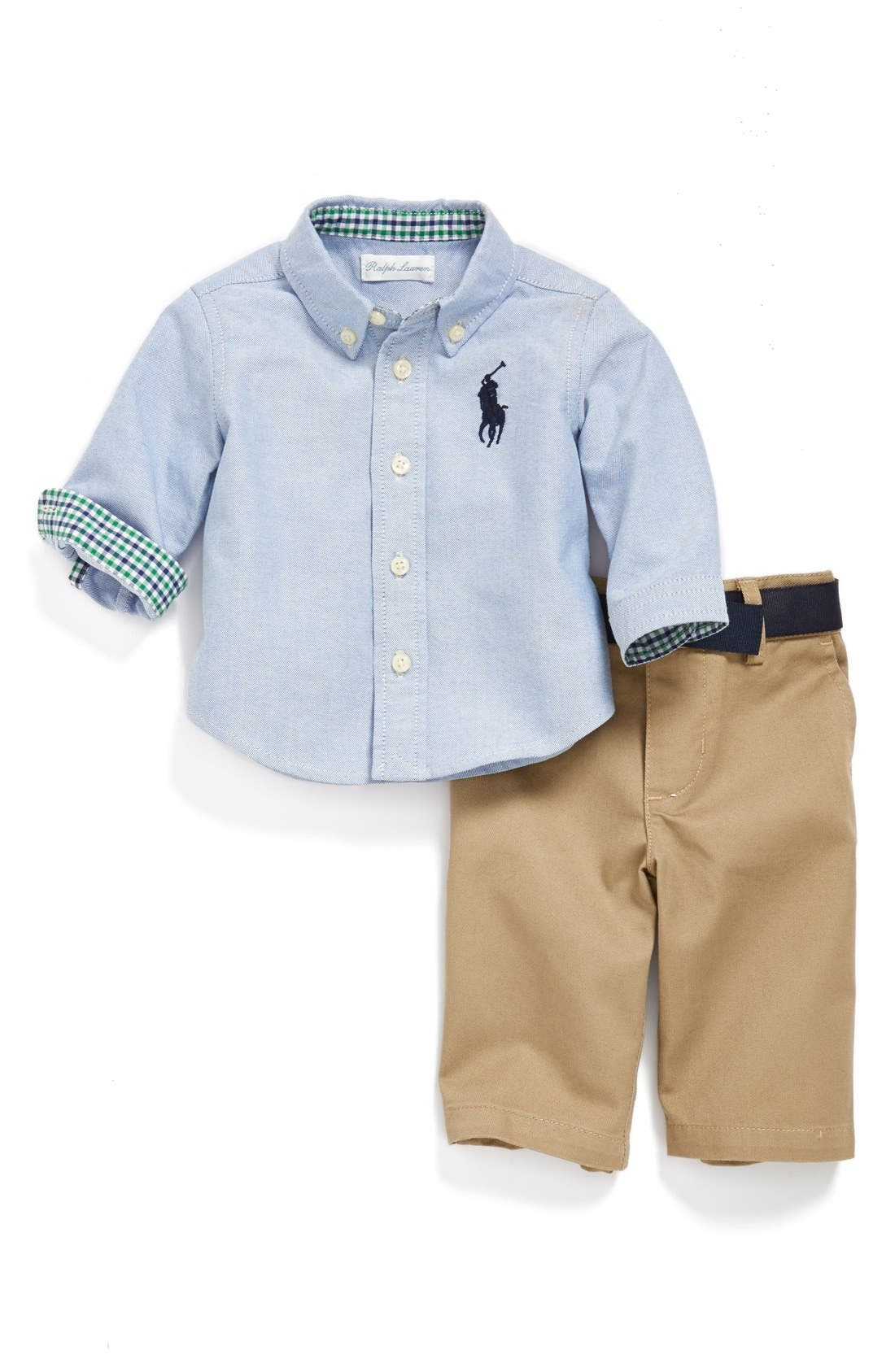 Alternate Image 1 Selected - Ralph Lauren Oxford Shirt & Chinos (Baby Boys)