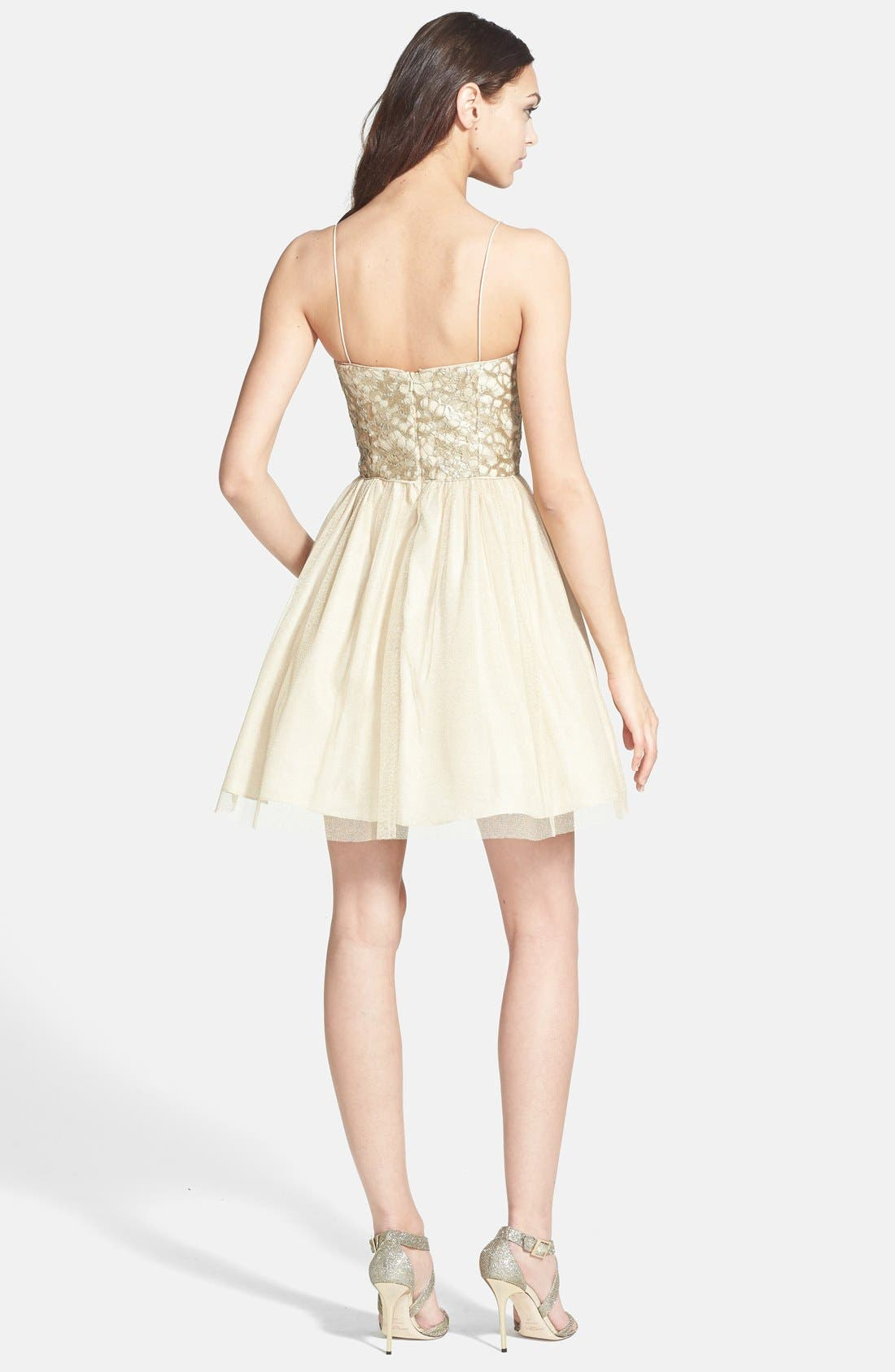 Alternate Image 2  - Aidan Mattox Embellished Tulle Fit & Flare Dress