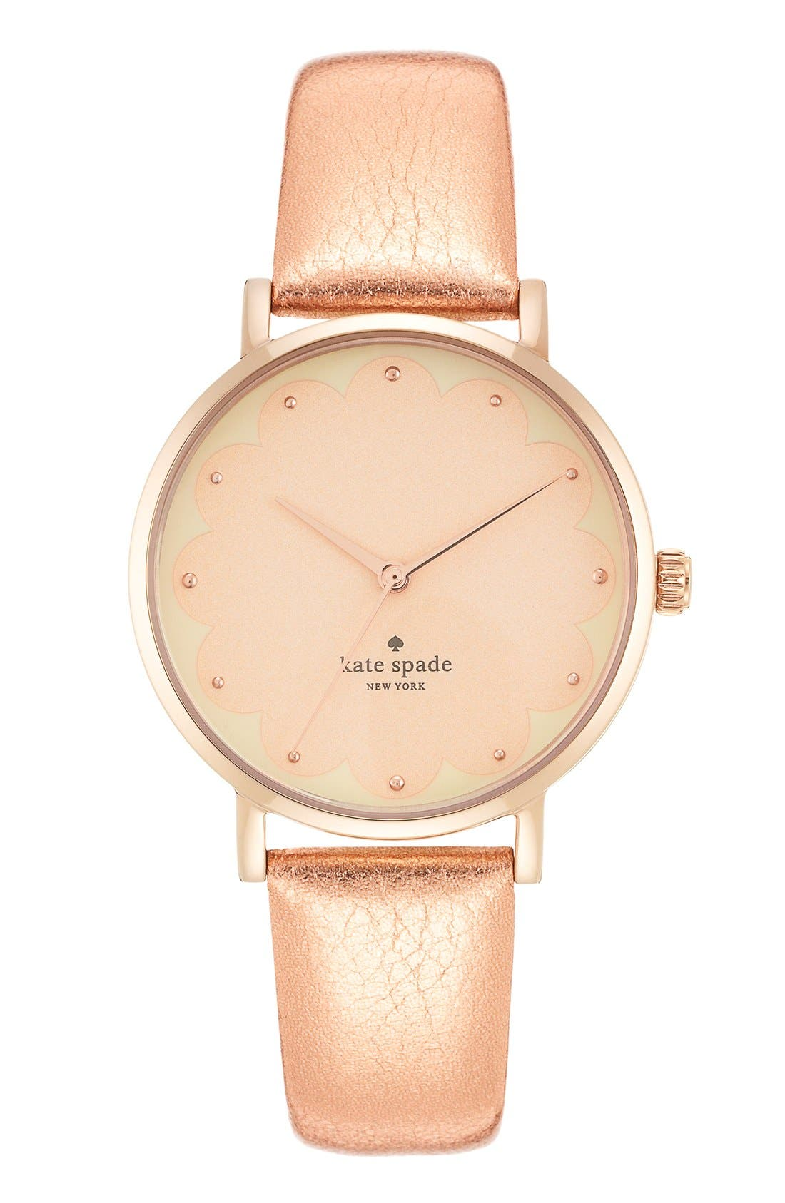 Alternate Image 4  - kate spade new york 'metro' scallop dial leather strap watch, 34mm