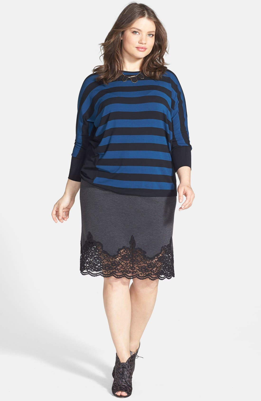 Alternate Image 5  - Vince Camuto Lace Panel Pencil Skirt (Plus Size)