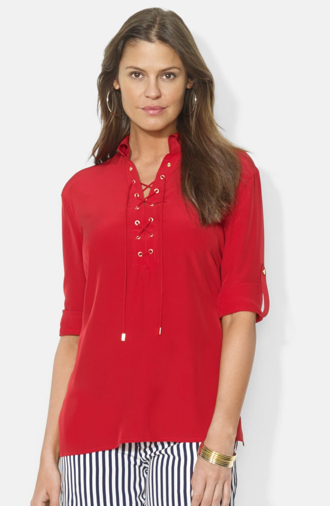 Alternate Image 1 Selected - Lauren Ralph Lauren Lace-Up Silk Blouse