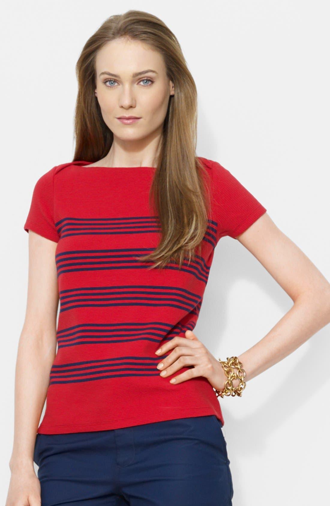 Alternate Image 1 Selected - Lauren Ralph Lauren Stripe Ottoman Stitch Cotton Tee