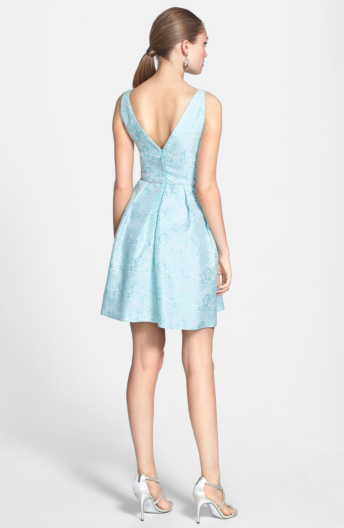 Alternate Image 2  - a. drea Beaded Waist Jacquard Fit & Flare Dress (Juniors)