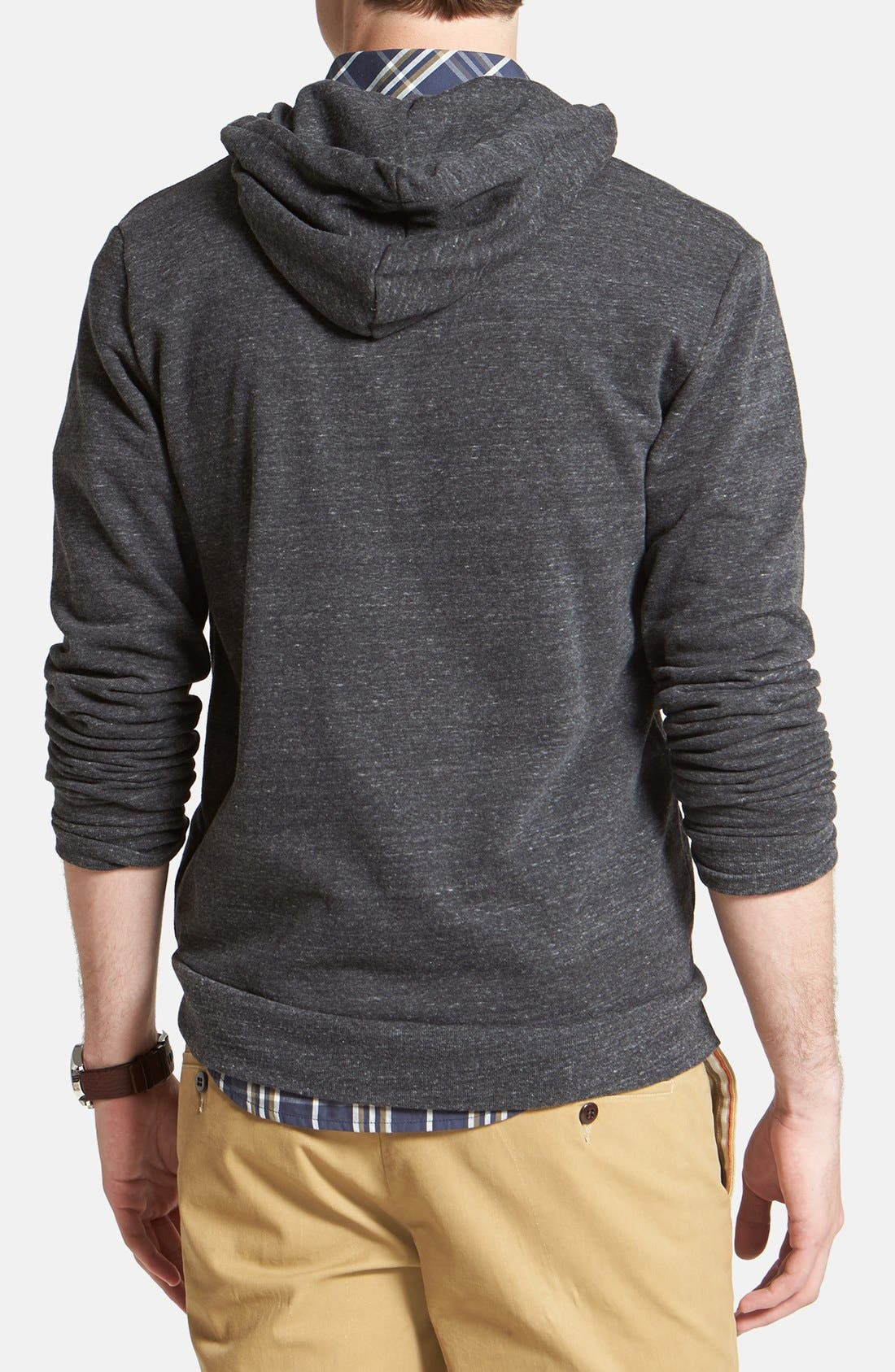 Threads for Thought Trim Fit Heathered Hoodie,                             Alternate thumbnail 2, color,                             Heather Black