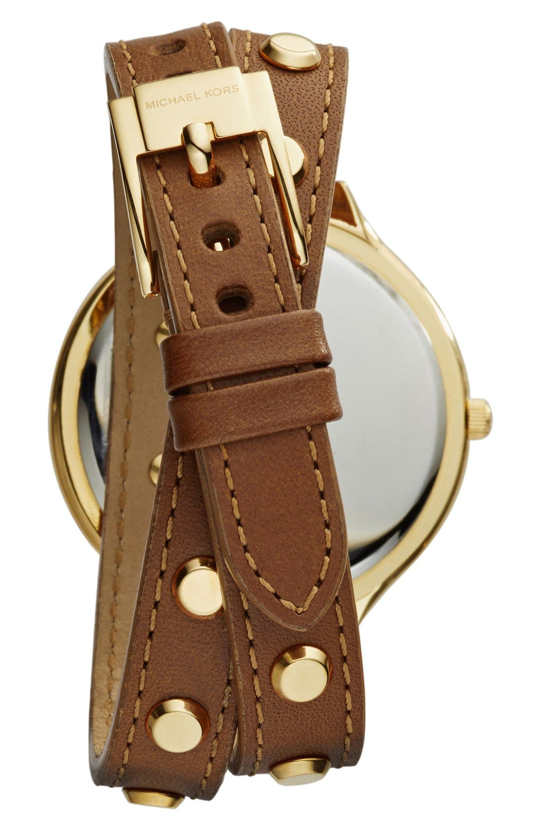 Alternate Image 2  - Michael Kors 'Slim Runway' Double Wrap Leather Strap Watch, 42mm