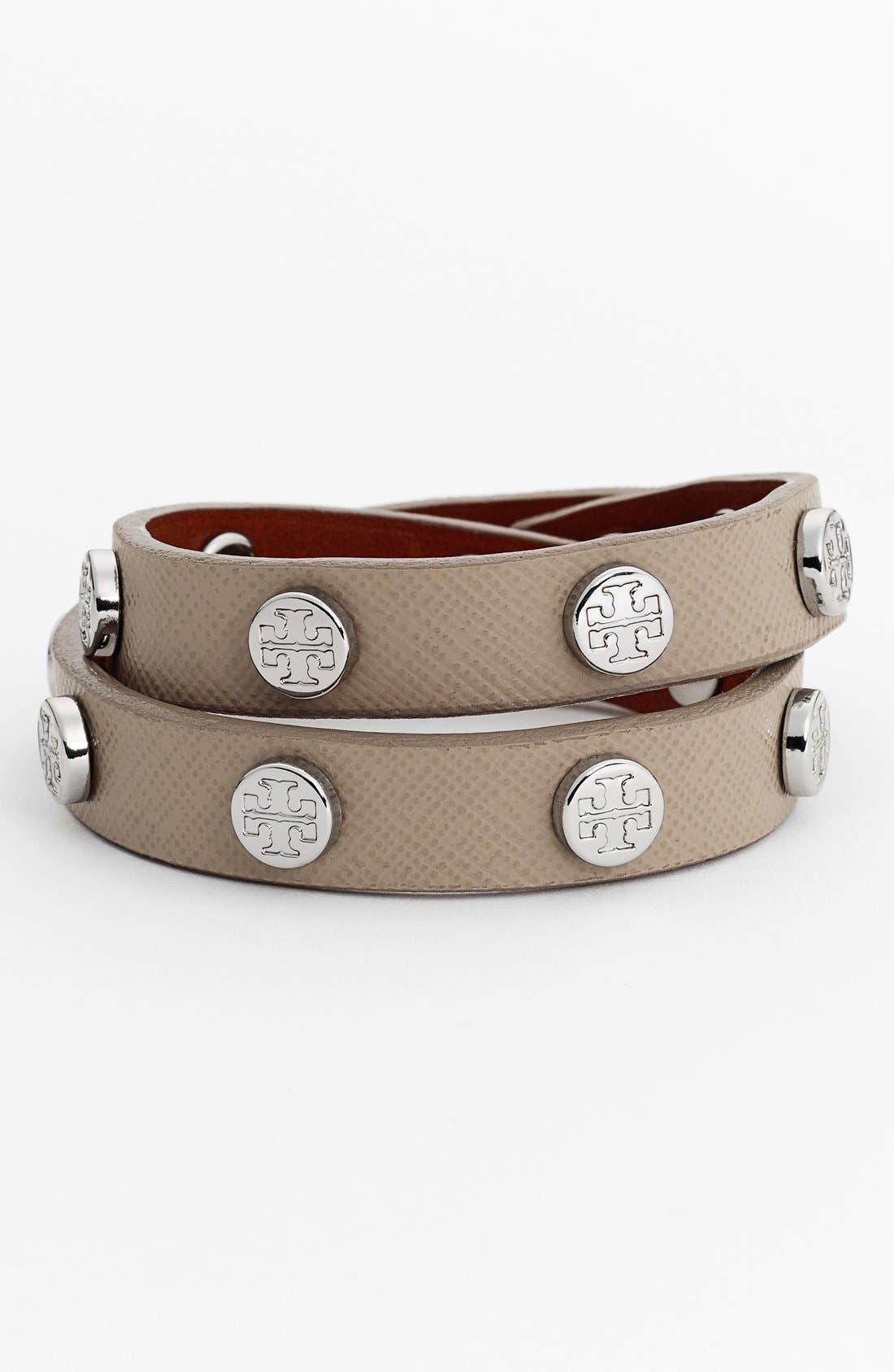 Main Image - Tory Burch Logo Stud Leather Wrap Bracelet