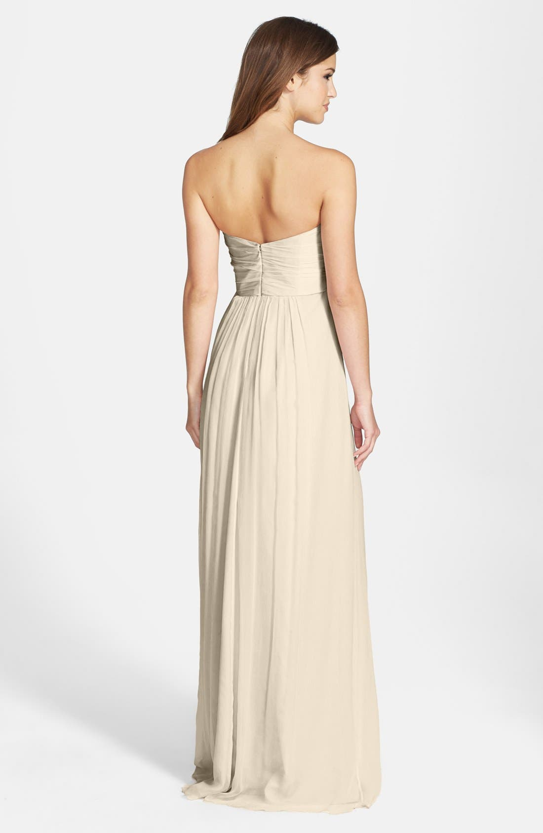 Strapless Crinkle Chiffon Gown,                             Alternate thumbnail 2, color,                             Champagne