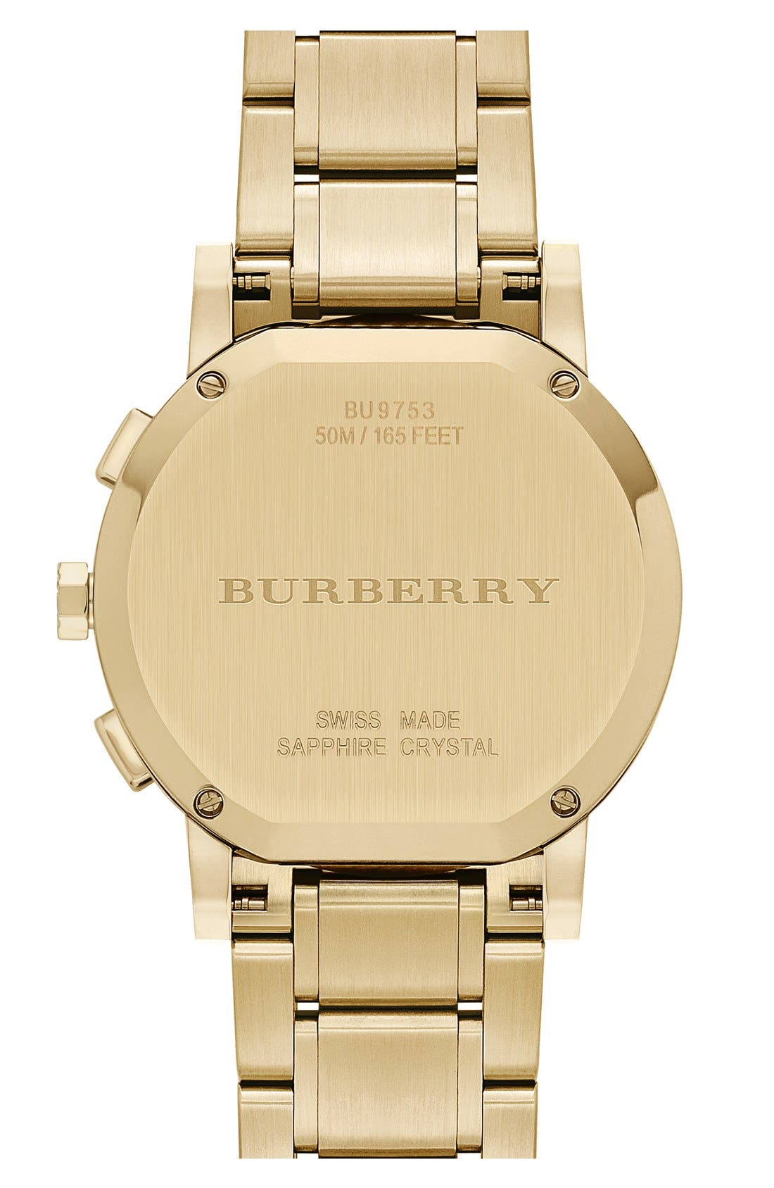 Alternate Image 3  - Burberry Check Stamped Chronograph Bracelet Watch, 38mm