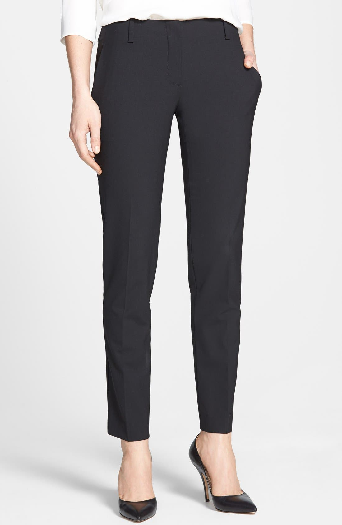 'Ines' Crop Stretch Wool Trousers,                         Main,                         color, Black